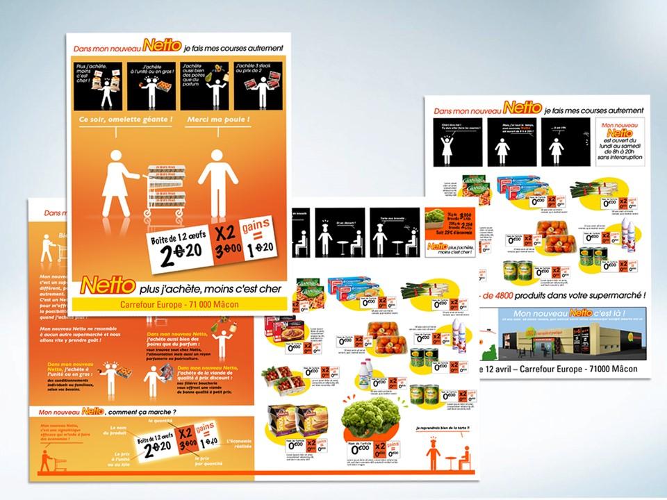 Illustration Cas client nouveau Netto, Je fais mes courses autrement, Patrick Lecercle, ID Inside